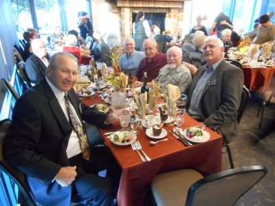 """Alumni Table- """"The Big Righty"""" Butch Rounsaville HOF 2007 on left with Dennis Opsal HOF 2013"""