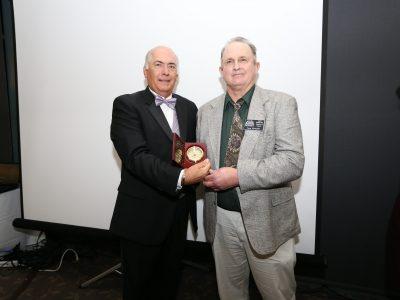 M/C Rick Marchoke and 2017 Inductee Tom Rhoads