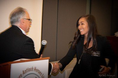 M/C Gary Bras and 2018 Inductee Jackie Wong