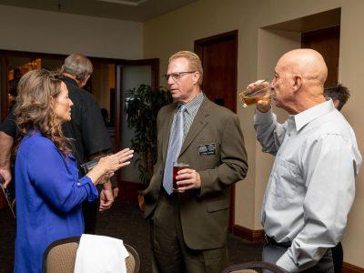 During Social Hour, Antioch Sports Legends Volunteer Michele Moore, Craig Carson HOF 2015 and Jack LaDuke Team 2008.