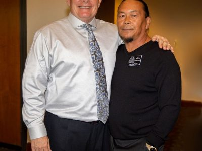 1982 Antioch High wrestling teammates, 2017 Inductee Shannon Felix and 2019 Inductee Ken Maghuyop.