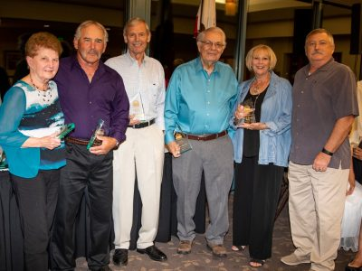 Life Time Apprecation Awards for years of dedicated service to the Antioch Sports legends Program, are presented to (from left to right) Bertha Shaw, Dan Tuck, Mike Hurd, LeRoy Murray, Debbie and Paul Walls.