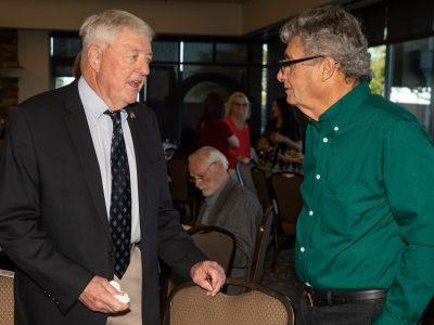 Tom Menaco's Sacremento State roomate Bob Douglass and Mr. Pico talking before the Gala.